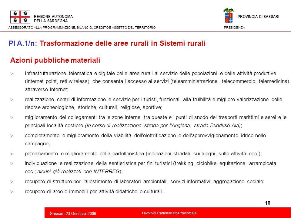 10 2 Azioni pubbliche materiali Infrastrutturazione telematica e digitale delle aree rurali al servizio delle popolazioni e delle attività produttive