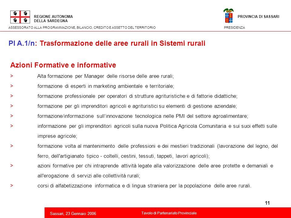 11 Azioni Formative e informative > Alta formazione per Manager delle risorse delle aree rurali; > formazione di esperti in marketing ambientale e ter
