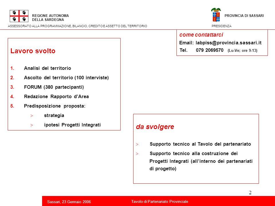 33 Titolo della presentazione REGIONE AUTONOMA DELLA SARDEGNA Sassari, 23 Gennaio 2006 2 Tavolo di Partenariato Provinciale ASSESSORATO ALLA PROGRAMMAZIONE, BILANCIO, CREDITO E ASSETTO DEL TERRITORIO Azioni imprenditoriali nuove forme di packaging e di porzionamento (es.