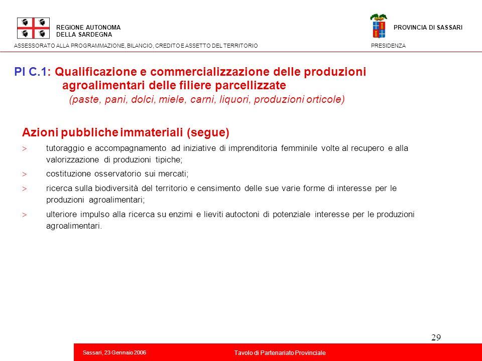 29 Titolo della presentazione REGIONE AUTONOMA DELLA SARDEGNA Sassari, 23 Gennaio 2006 2 Tavolo di Partenariato Provinciale ASSESSORATO ALLA PROGRAMMA