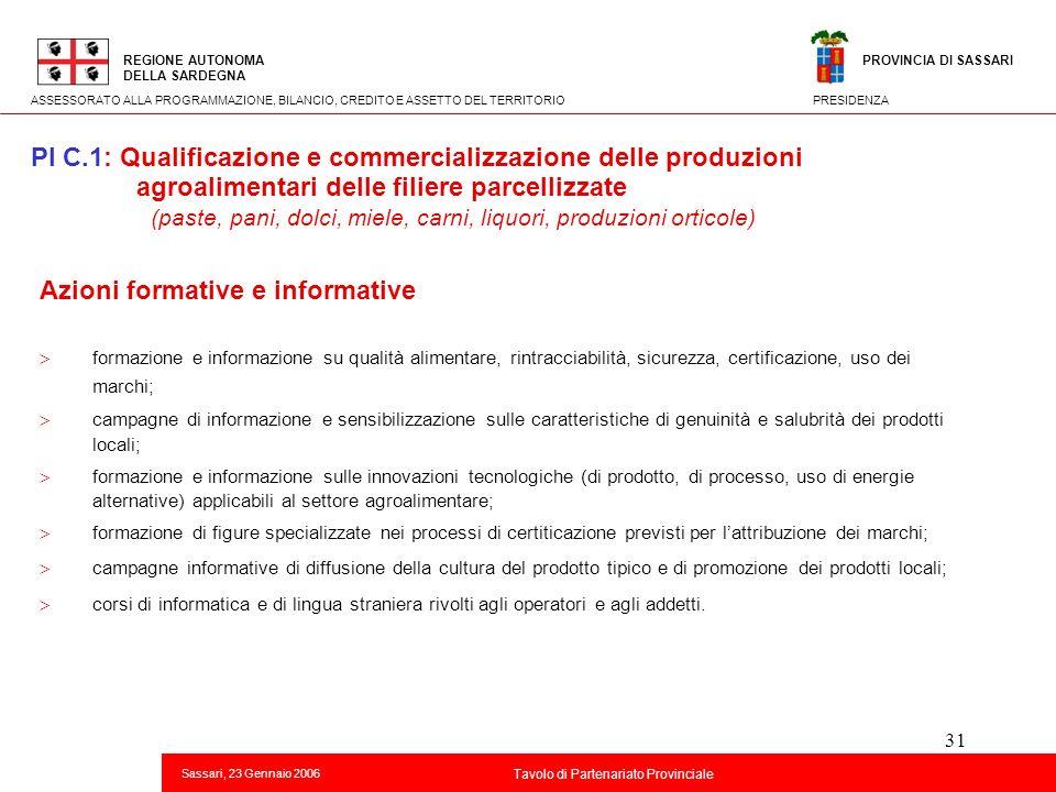 31 Titolo della presentazione REGIONE AUTONOMA DELLA SARDEGNA Sassari, 23 Gennaio 2006 2 Tavolo di Partenariato Provinciale ASSESSORATO ALLA PROGRAMMA