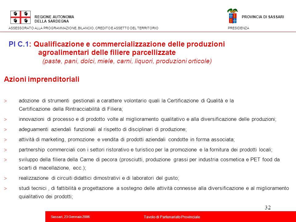 32 Titolo della presentazione REGIONE AUTONOMA DELLA SARDEGNA Sassari, 23 Gennaio 2006 2 Tavolo di Partenariato Provinciale ASSESSORATO ALLA PROGRAMMA