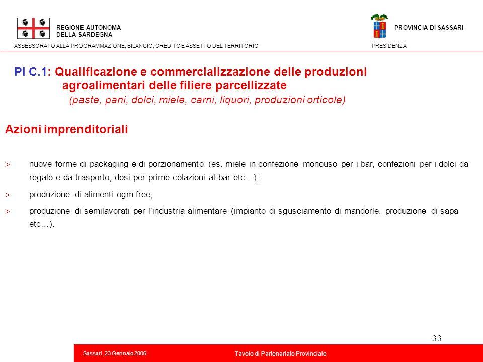 33 Titolo della presentazione REGIONE AUTONOMA DELLA SARDEGNA Sassari, 23 Gennaio 2006 2 Tavolo di Partenariato Provinciale ASSESSORATO ALLA PROGRAMMA