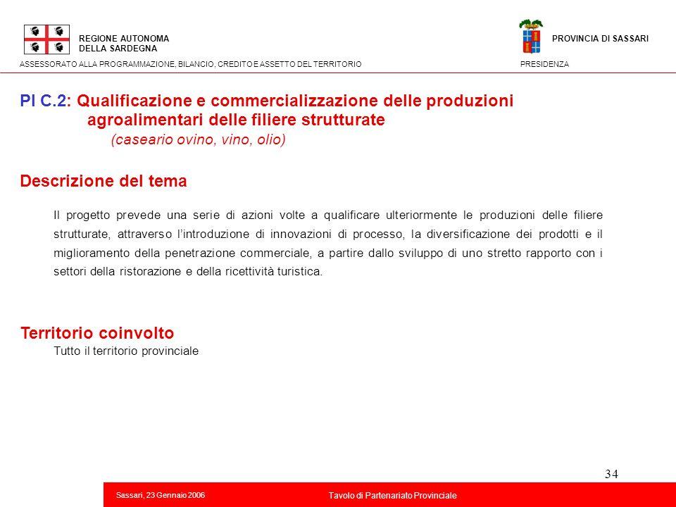 34 Titolo della presentazione REGIONE AUTONOMA DELLA SARDEGNA Sassari, 23 Gennaio 2006 2 Tavolo di Partenariato Provinciale ASSESSORATO ALLA PROGRAMMA