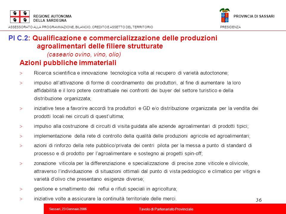 36 Titolo della presentazione REGIONE AUTONOMA DELLA SARDEGNA Sassari, 23 Gennaio 2006 2 Tavolo di Partenariato Provinciale ASSESSORATO ALLA PROGRAMMA