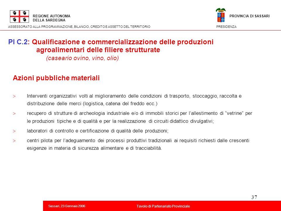 37 Titolo della presentazione REGIONE AUTONOMA DELLA SARDEGNA Sassari, 23 Gennaio 2006 2 Tavolo di Partenariato Provinciale ASSESSORATO ALLA PROGRAMMA