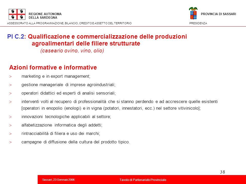 38 Titolo della presentazione REGIONE AUTONOMA DELLA SARDEGNA Sassari, 23 Gennaio 2006 2 Tavolo di Partenariato Provinciale ASSESSORATO ALLA PROGRAMMA