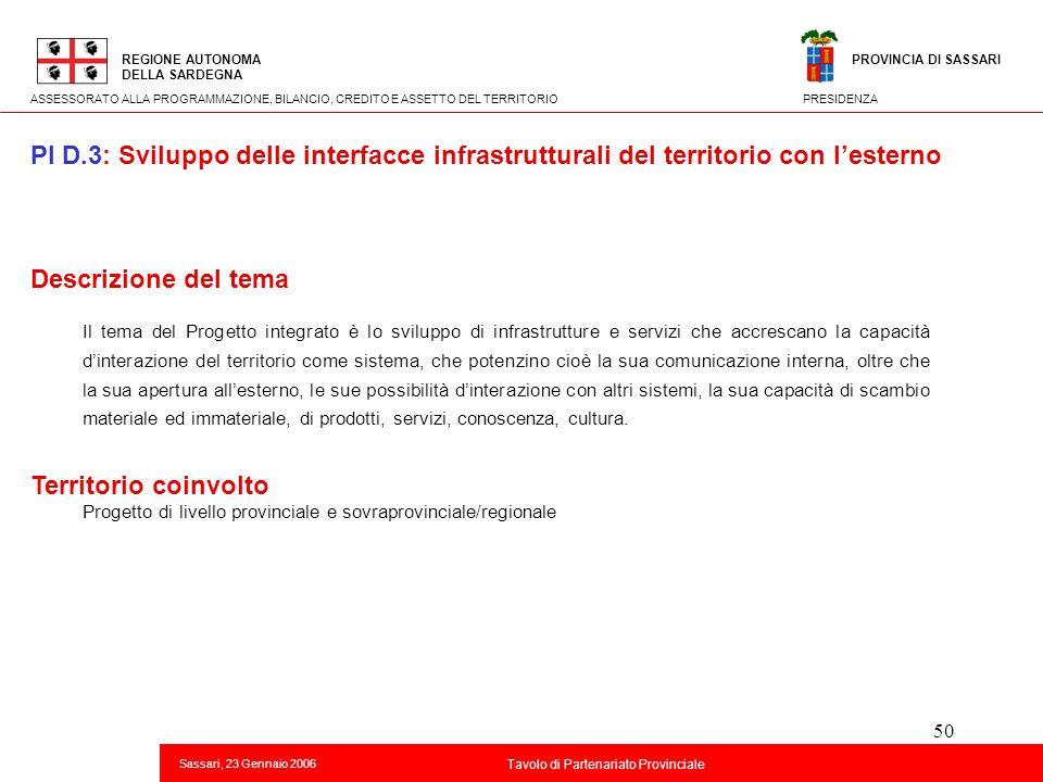50 Descrizione del tema Il tema del Progetto integrato è lo sviluppo di infrastrutture e servizi che accrescano la capacità dinterazione del territori