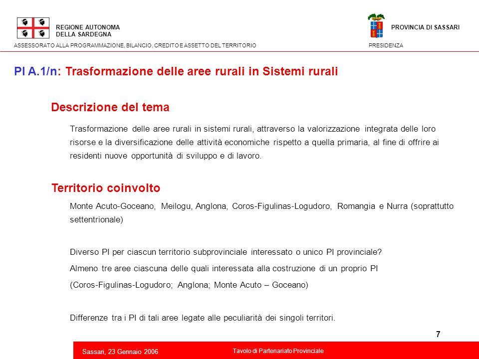 7 2 Descrizione del tema Trasformazione delle aree rurali in sistemi rurali, attraverso la valorizzazione integrata delle loro risorse e la diversific