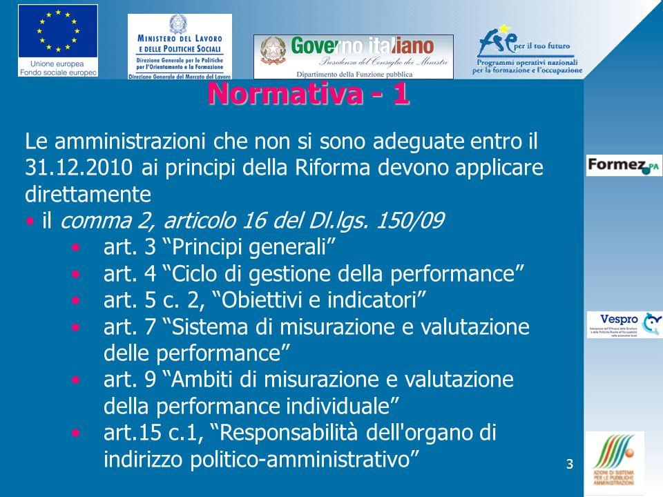 3 Normativa - 1 Normativa - 1 Le amministrazioni che non si sono adeguate entro il 31.12.2010 ai principi della Riforma devono applicare direttamente