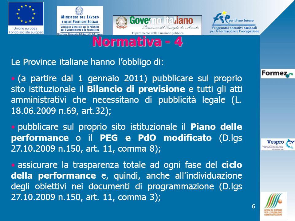 6 Normativa - 4 Normativa - 4 Le Province italiane hanno lobbligo di: (a partire dal 1 gennaio 2011) pubblicare sul proprio sito istituzionale il Bila