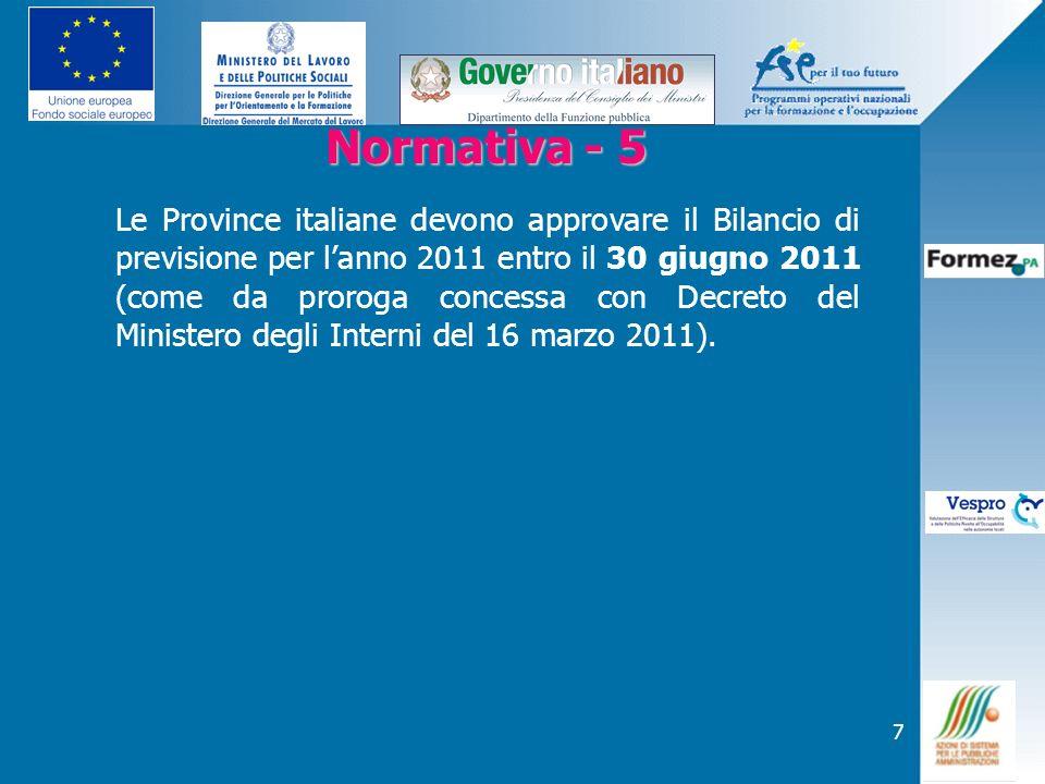 7 Normativa - 5 Normativa - 5 Le Province italiane devono approvare il Bilancio di previsione per lanno 2011 entro il 30 giugno 2011 (come da proroga