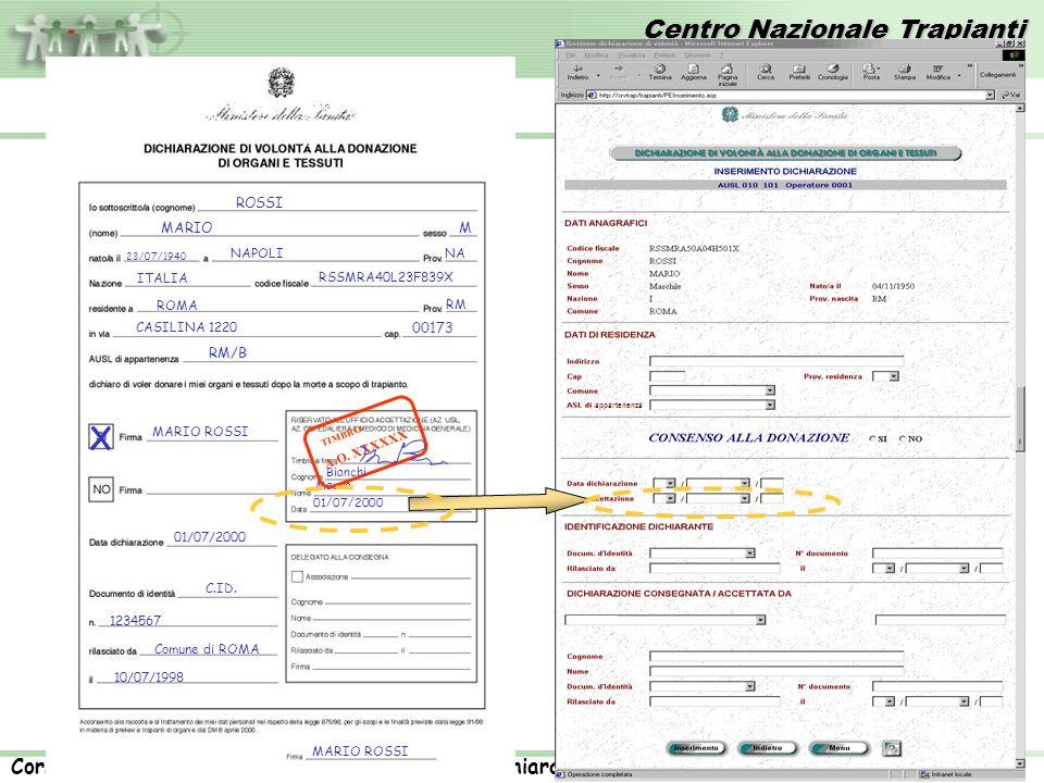 Centro Nazionale Trapianti Corso rivolto agli operatori ASL: Registrazione dichiarazioni di volontà. 16 23/07/1940 NAPOLINA ITALIA RSSMRA40L23F839X RO