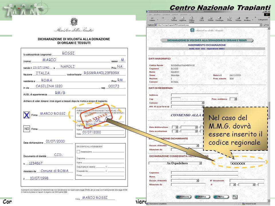 Centro Nazionale Trapianti Corso rivolto agli operatori ASL: Registrazione dichiarazioni di volontà. 18 appartenenza 23/07/1940 NAPOLINA ITALIA RSSMRA