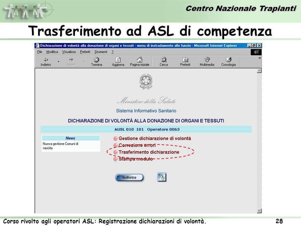 Centro Nazionale Trapianti Corso rivolto agli operatori ASL: Registrazione dichiarazioni di volontà. 28 Trasferimento ad ASL di competenza