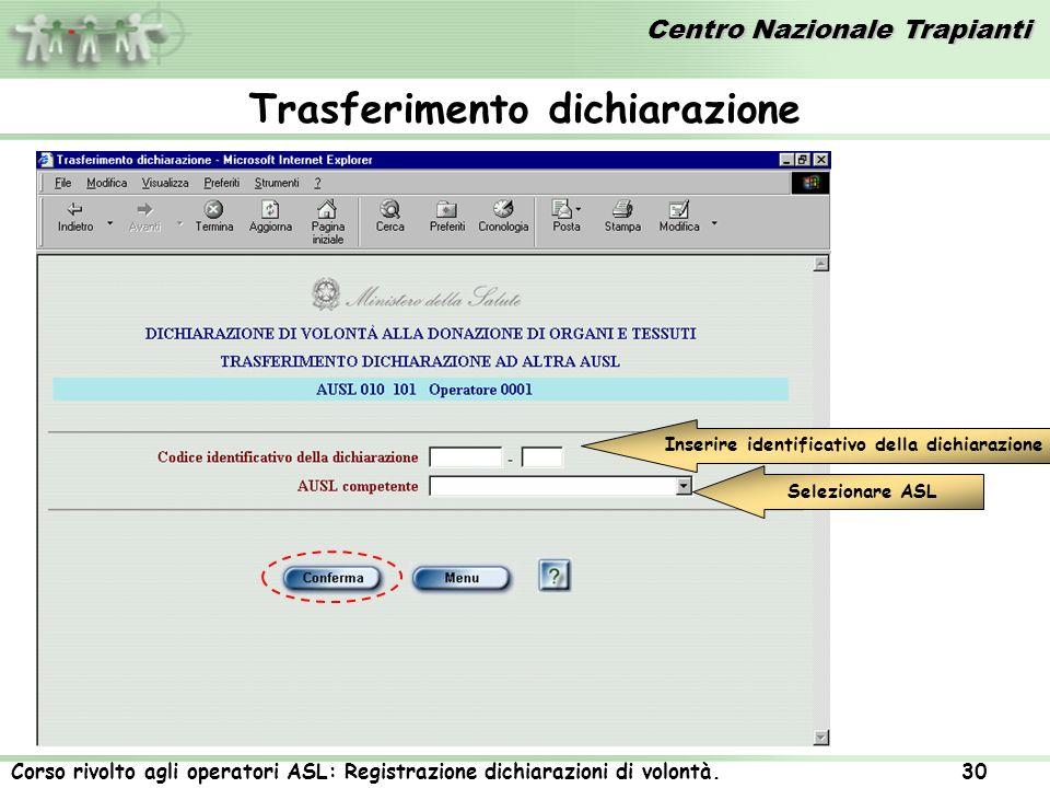 Centro Nazionale Trapianti Corso rivolto agli operatori ASL: Registrazione dichiarazioni di volontà. 30 Inserire identificativo della dichiarazione Se