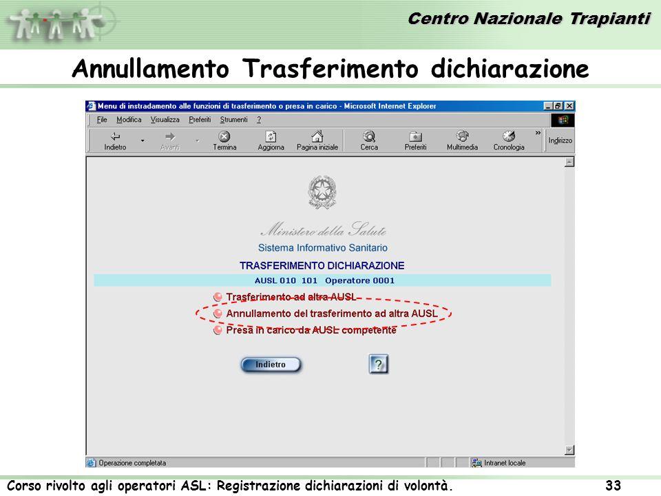 Centro Nazionale Trapianti Corso rivolto agli operatori ASL: Registrazione dichiarazioni di volontà. 33 Annullamento Trasferimento dichiarazione