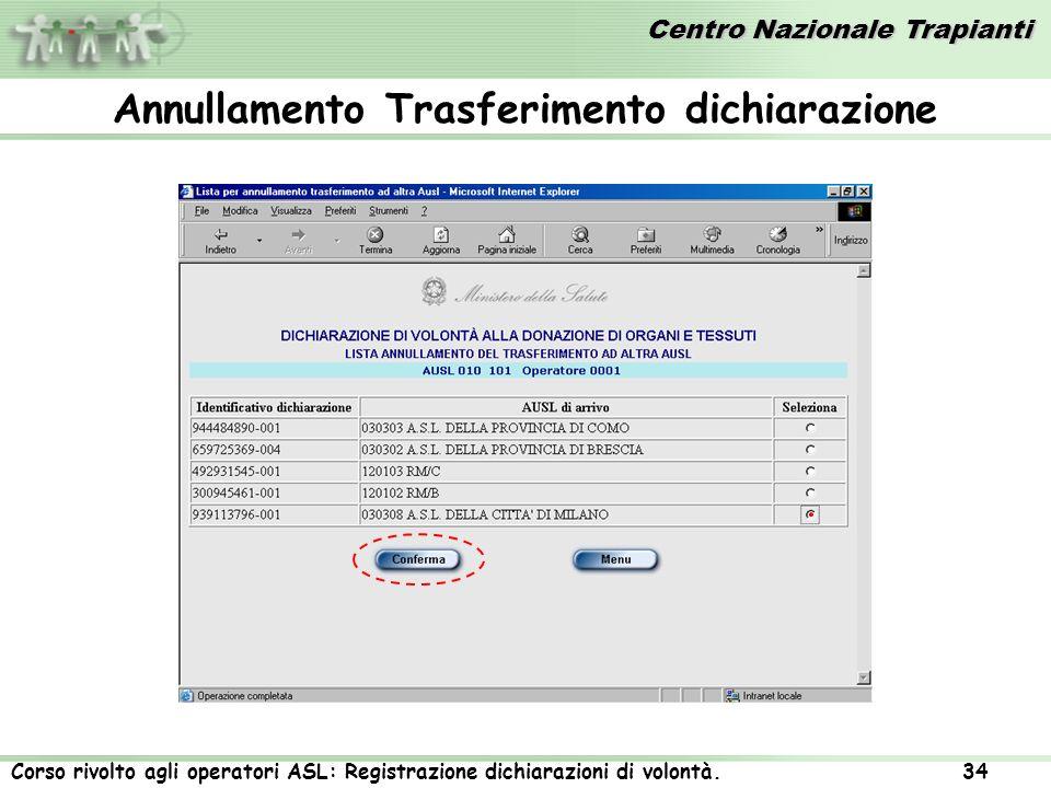 Centro Nazionale Trapianti Corso rivolto agli operatori ASL: Registrazione dichiarazioni di volontà. 34 Annullamento Trasferimento dichiarazione