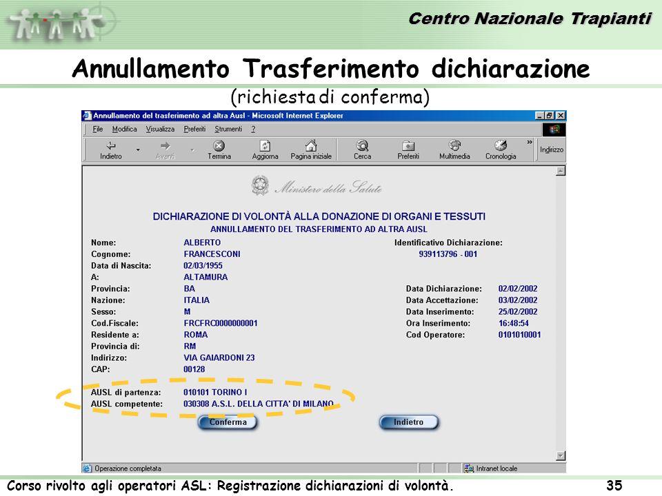 Centro Nazionale Trapianti Corso rivolto agli operatori ASL: Registrazione dichiarazioni di volontà. 35 (richiesta di conferma) Annullamento Trasferim