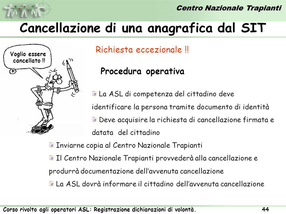 Centro Nazionale Trapianti Corso rivolto agli operatori ASL: Registrazione dichiarazioni di volontà. 44 Cancellazione di una anagrafica dal SIT Richie