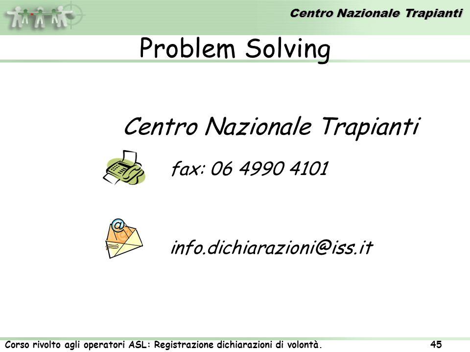 Centro Nazionale Trapianti Corso rivolto agli operatori ASL: Registrazione dichiarazioni di volontà. 45 Problem Solving Centro Nazionale Trapianti fax