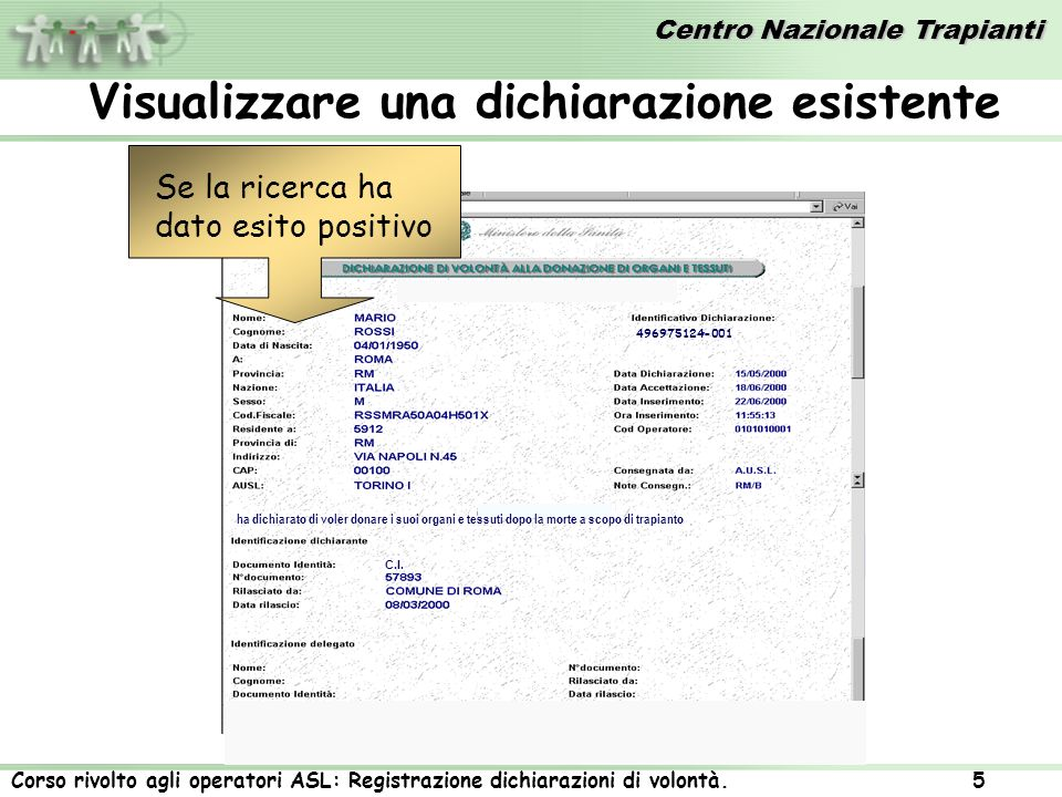 Centro Nazionale Trapianti Corso rivolto agli operatori ASL: Registrazione dichiarazioni di volontà. 5 Azienda Policlinico Umberto I C.I. 496975124-00