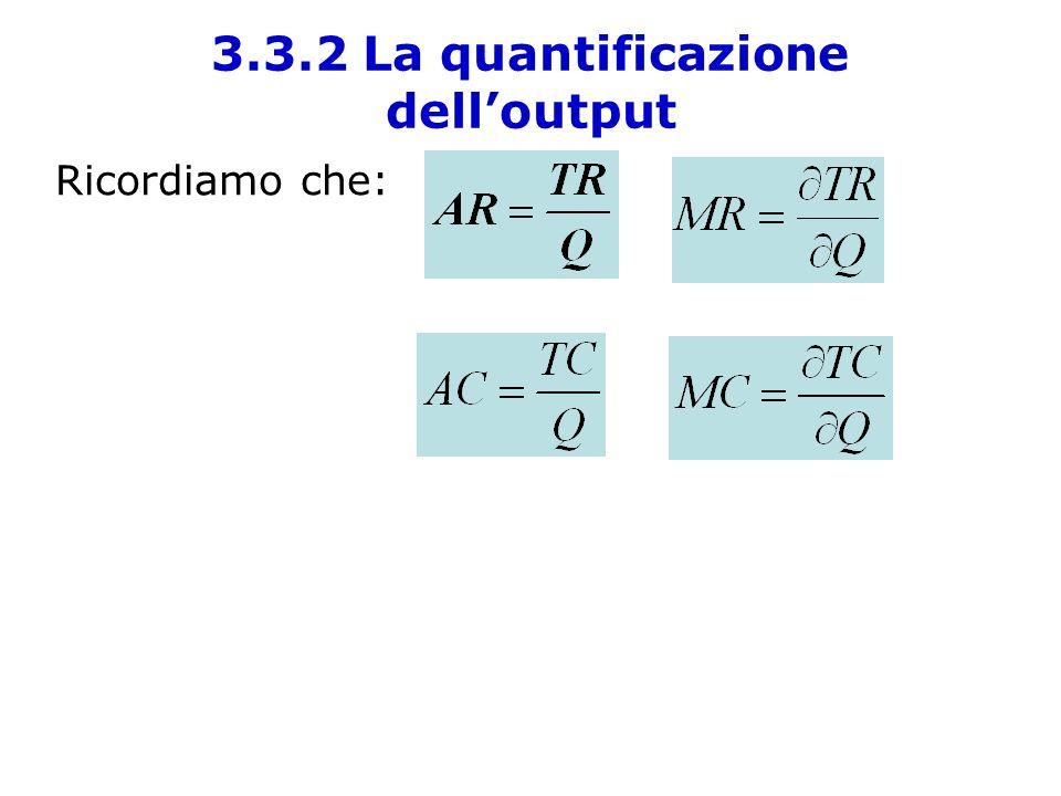 Ricordiamo che: 3.3.2 La quantificazione delloutput