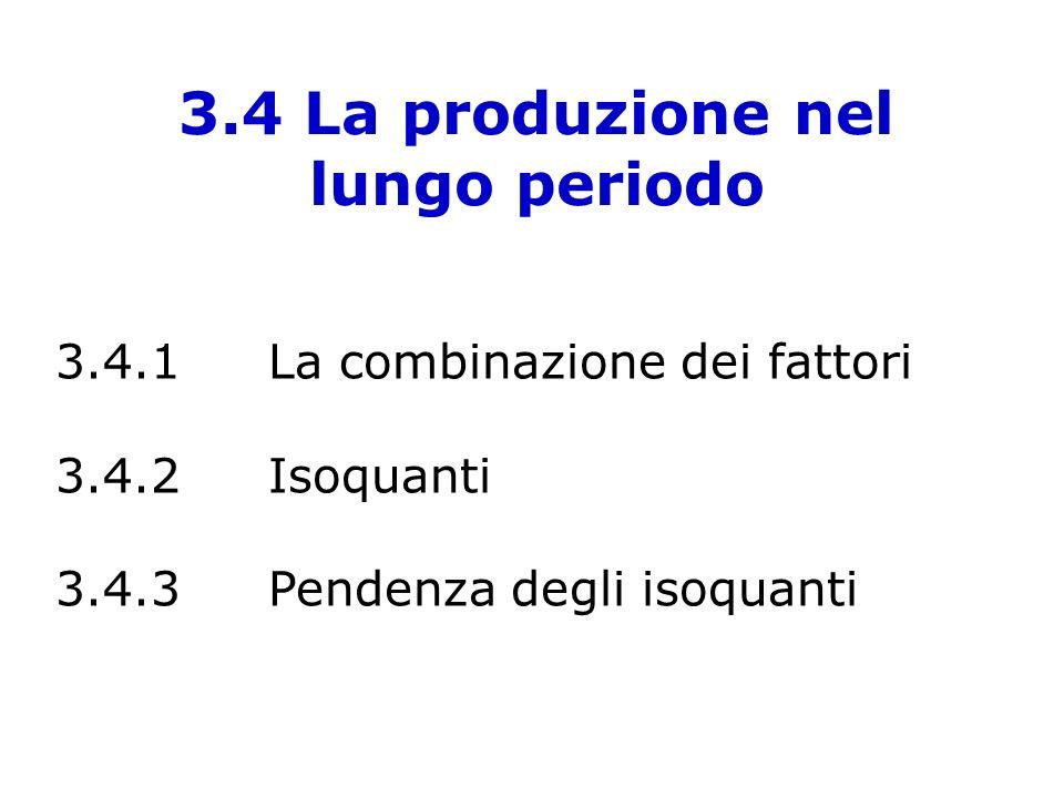 3.4 La produzione nel lungo periodo 3.4.1La combinazione dei fattori 3.4.2Isoquanti 3.4.3Pendenza degli isoquanti