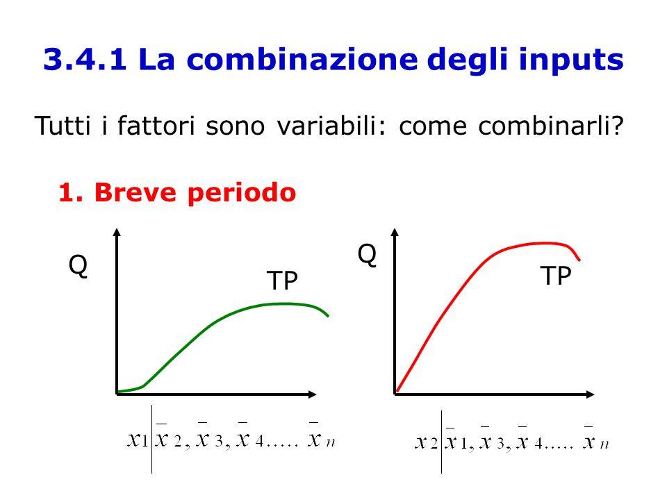 3.4.1 La combinazione degli inputs Tutti i fattori sono variabili: come combinarli? 1. Breve periodo Q Q TP