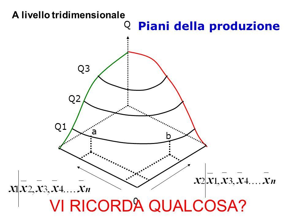 Piani della produzione Q 0 Q1 Q2 Q3 a b A livello tridimensionale VI RICORDA QUALCOSA?