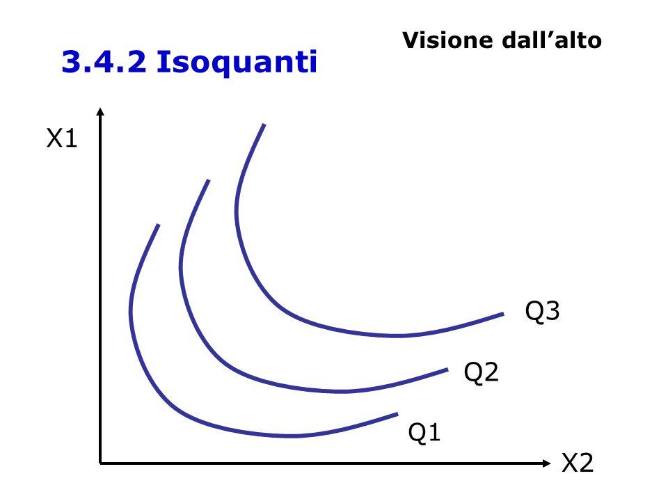 X1 X2 Q1 Q2 Q3 3.4.2 Isoquanti Visione dallalto