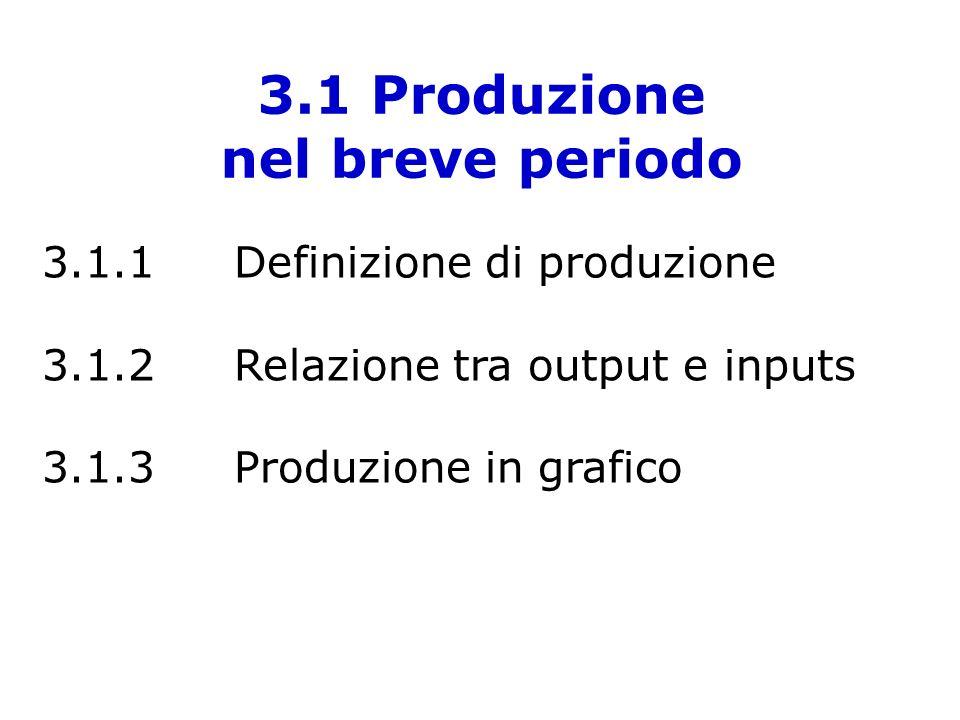 3.1.1 Definizione di produzione In parole povere… la produzione è la combinazione di alcuni inputs per produrre un output Questa combinazione si chiama FUNZIONE DI PRODUZIONE.