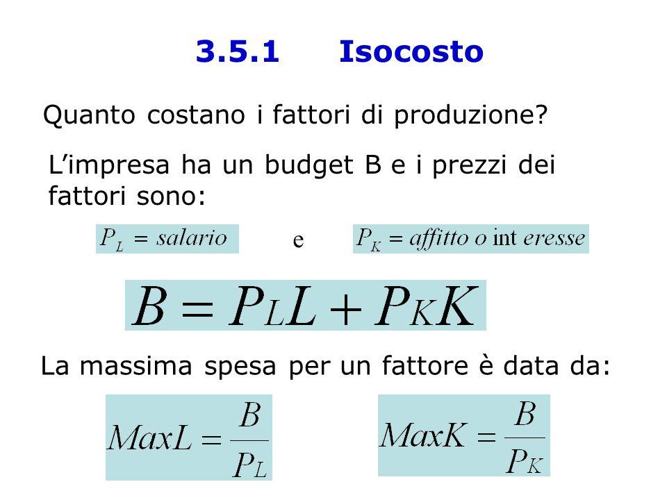 Quanto costano i fattori di produzione? Limpresa ha un budget B e i prezzi dei fattori sono: e La massima spesa per un fattore è data da: 3.5.1 Isocos