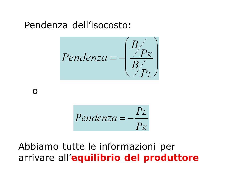 Pendenza dellisocosto: o Abbiamo tutte le informazioni per arrivare allequilibrio del produttore