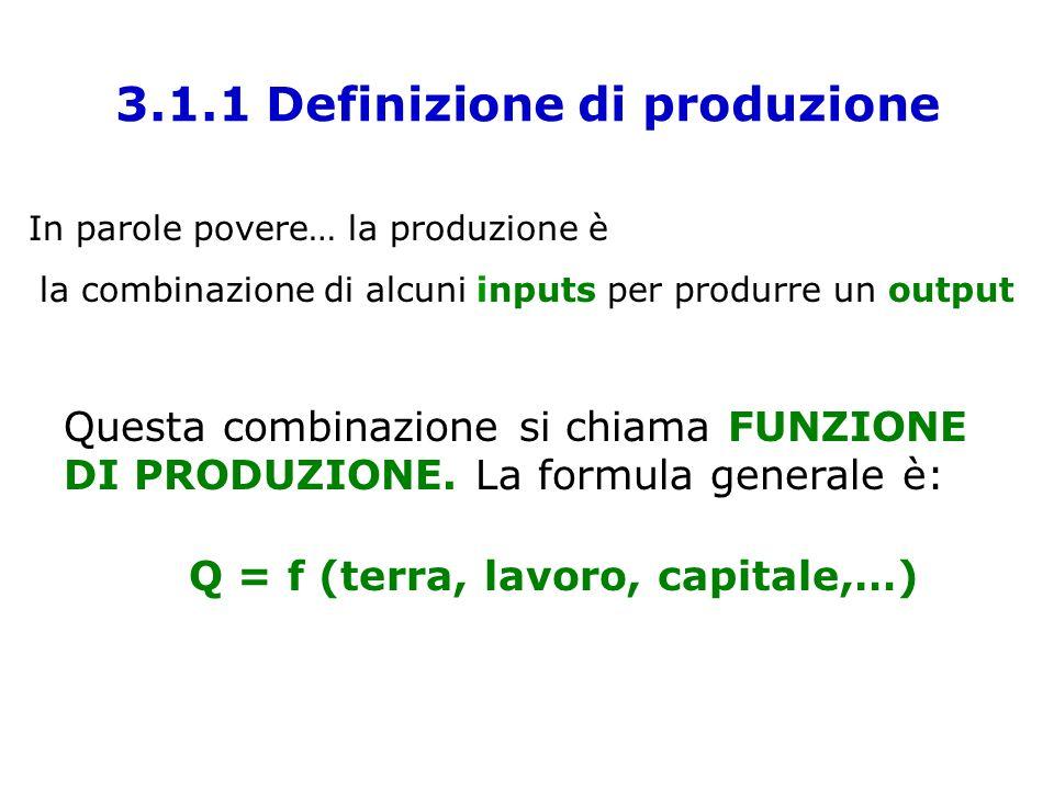 3.1.1 Definizione di produzione In parole povere… la produzione è la combinazione di alcuni inputs per produrre un output Questa combinazione si chiam