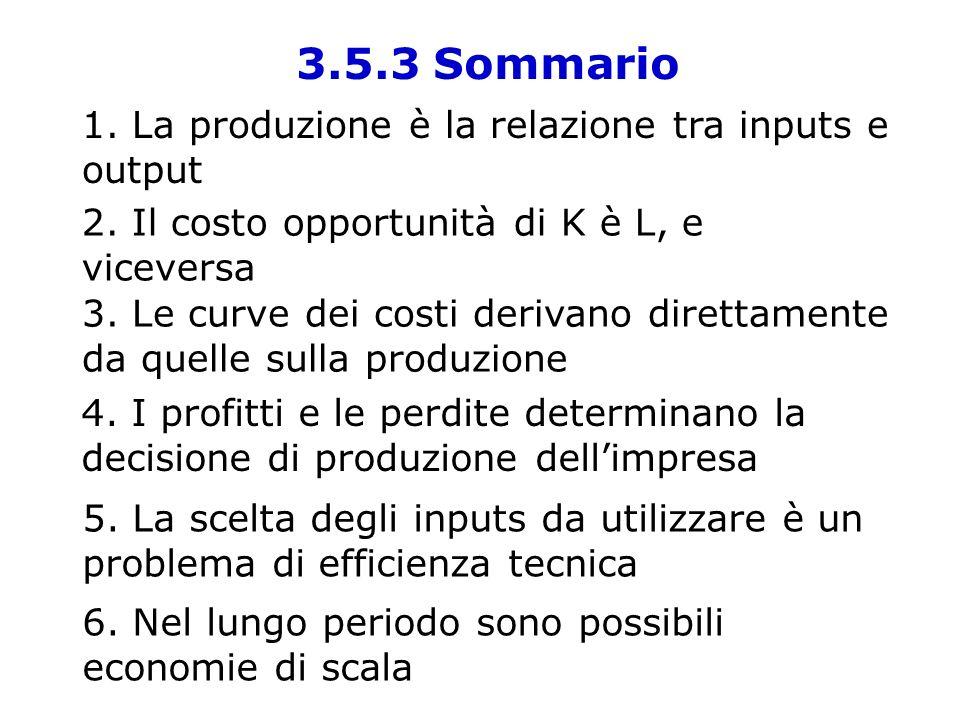 3.5.3 Sommario 1. La produzione è la relazione tra inputs e output 2. Il costo opportunità di K è L, e viceversa 3. Le curve dei costi derivano dirett