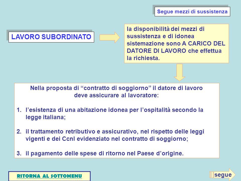 LAVORO SUBORDINATO Nella proposta di contratto di soggiorno il datore di lavoro deve assicurare al lavoratore: 1.lesistenza di una abitazione idonea p