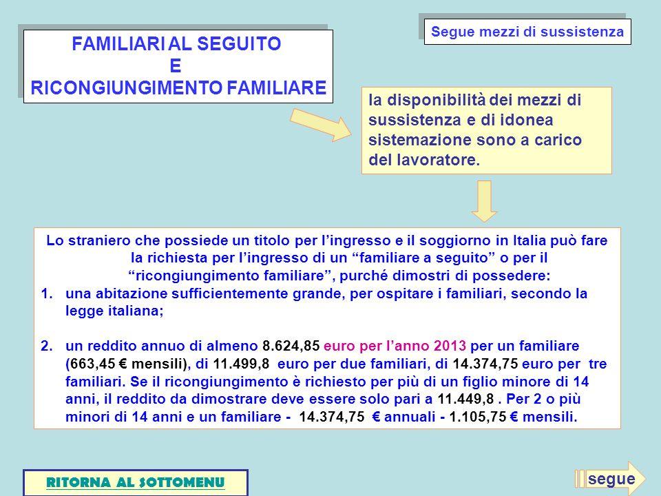 FAMILIARI AL SEGUITO E RICONGIUNGIMENTO FAMILIARE FAMILIARI AL SEGUITO E RICONGIUNGIMENTO FAMILIARE Lo straniero che possiede un titolo per lingresso