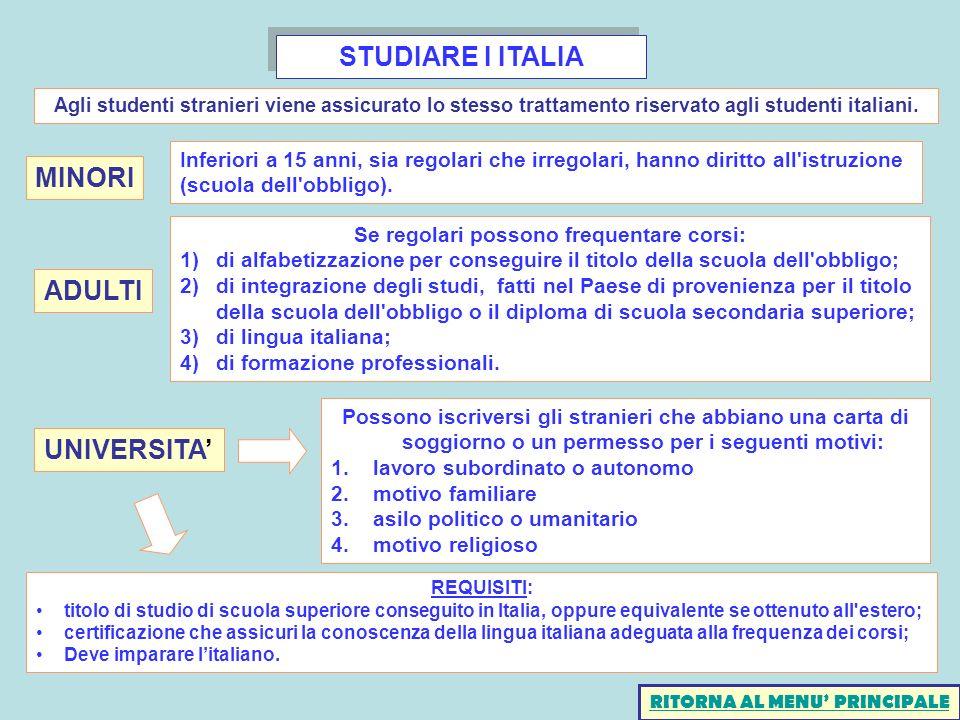STUDIARE I ITALIA REQUISITI: titolo di studio di scuola superiore conseguito in Italia, oppure equivalente se ottenuto all'estero; certificazione che