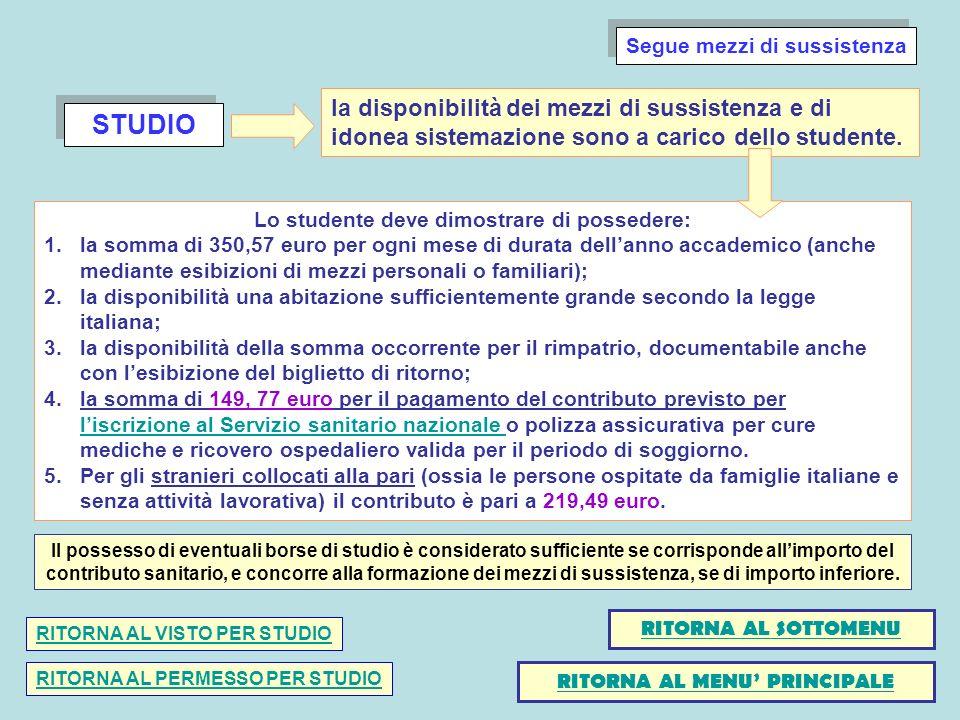 STUDIO Lo studente deve dimostrare di possedere: 1.la somma di 350,57 euro per ogni mese di durata dellanno accademico (anche mediante esibizioni di m