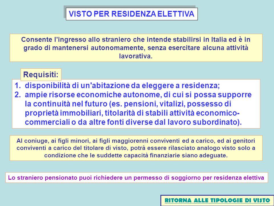 VISTO PER RESIDENZA ELETTIVA 1.disponibilità di un'abitazione da eleggere a residenza; 2.ampie risorse economiche autonome, di cui si possa supporre l