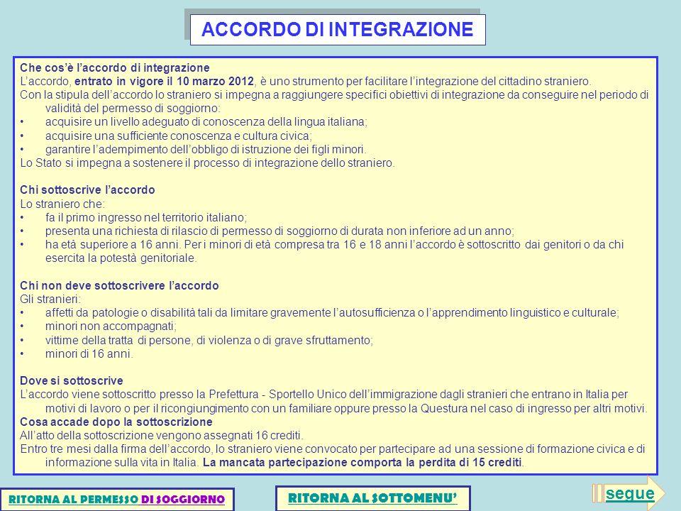 ACCORDO DI INTEGRAZIONE Che cosè laccordo di integrazione Laccordo, entrato in vigore il 10 marzo 2012, è uno strumento per facilitare lintegrazione d