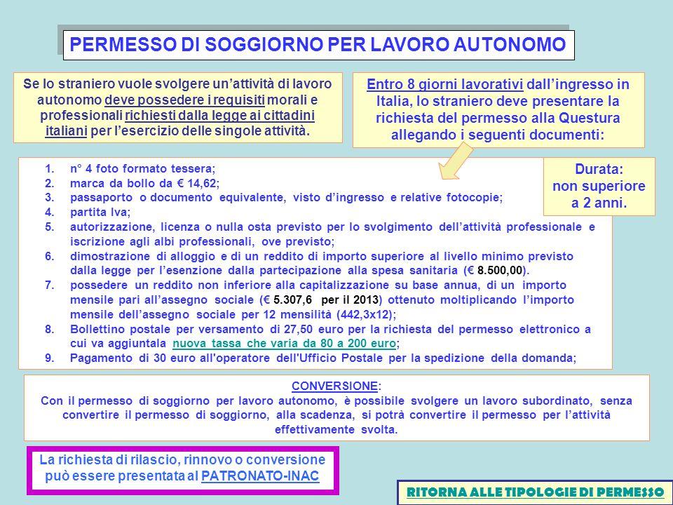 PERMESSO DI SOGGIORNO PER LAVORO AUTONOMO 1.n° 4 foto formato tessera; 2.marca da bollo da 14,62; 3.passaporto o documento equivalente, visto dingress