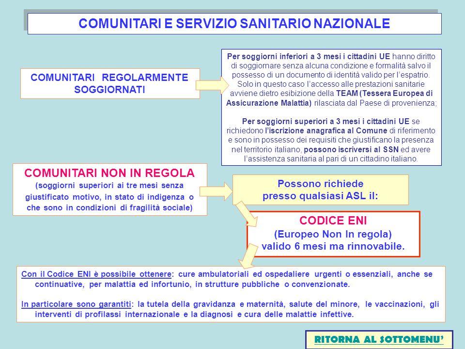 COMUNITARI E SERVIZIO SANITARIO NAZIONALE COMUNITARI REGOLARMENTE SOGGIORNATI COMUNITARI NON IN REGOLA (soggiorni superiori ai tre mesi senza giustifi