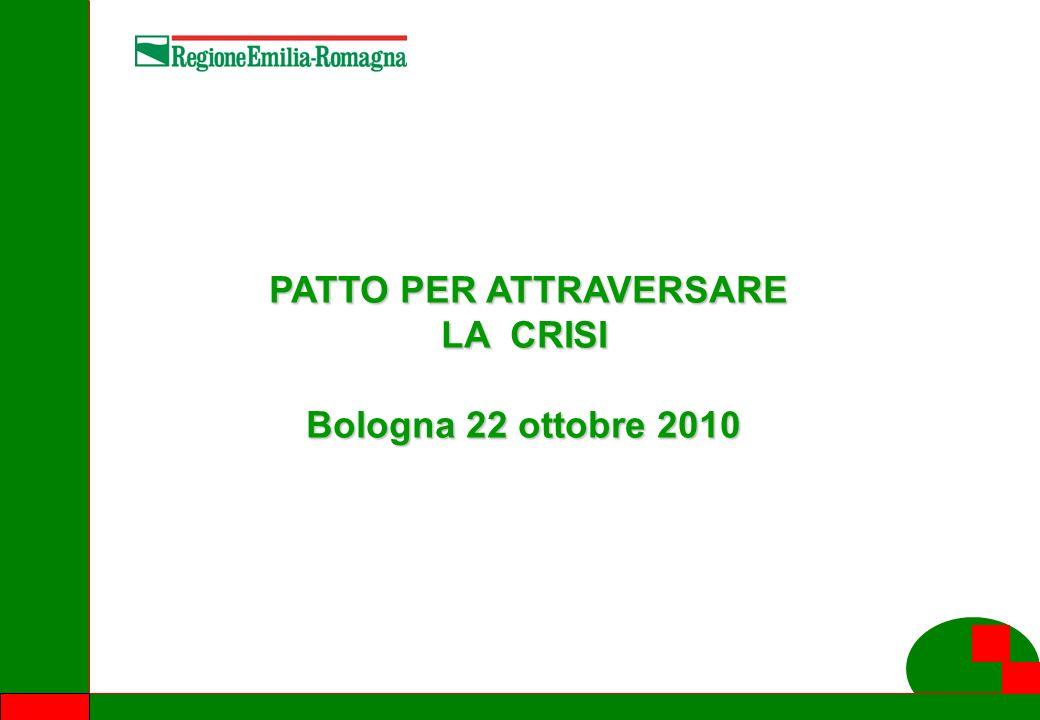 PATTO PER ATTRAVERSARE LA CRISI PATTO PER ATTRAVERSARE LA CRISI Bologna 22 ottobre 2010
