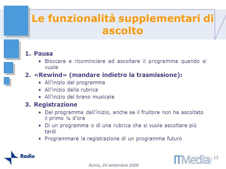 Roma, 24 settembre 2008 1.Pausa Bloccare e ricominciare ad ascoltare il programma quando si vuole 2.«Rewind» (mandare indietro la trasmissione): Allin