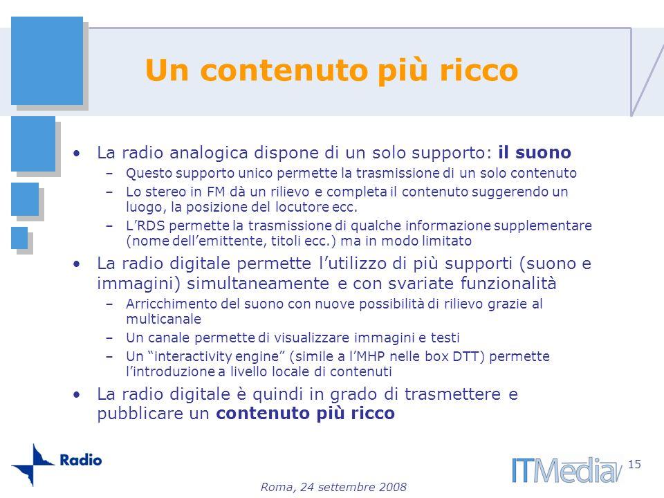 Roma, 24 settembre 2008 Un contenuto più ricco La radio analogica dispone di un solo supporto: il suono –Questo supporto unico permette la trasmission