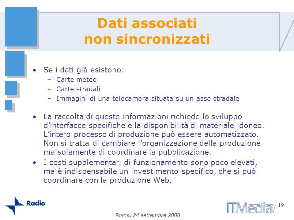 Roma, 24 settembre 2008 Dati associati non sincronizzati Se i dati già esistono: –Carte meteo –Carte stradali –Immagini di una telecamera situata su u