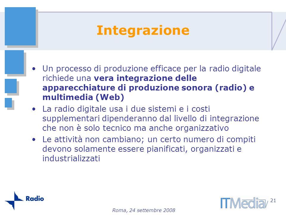 Roma, 24 settembre 2008 Integrazione Un processo di produzione efficace per la radio digitale richiede una vera integrazione delle apparecchiature di