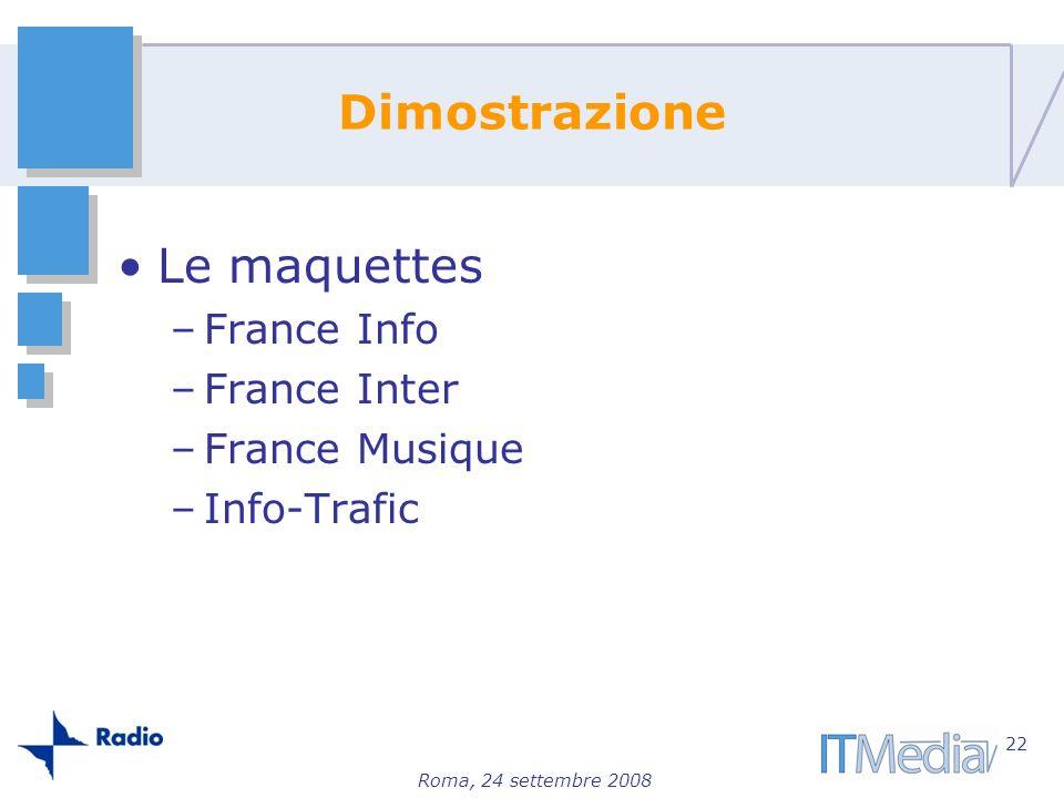 Roma, 24 settembre 2008 Dimostrazione Le maquettes –France Info –France Inter –France Musique –Info-Trafic 22